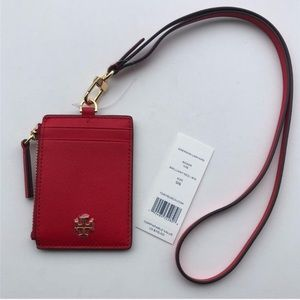 Sold Tory Burch Emerson Lanyard ID Wallet - Red